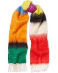 Loewe | Red Fringed Mohair And Wool-blend Scarf | Lyst