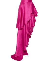 Michael Lo Sordo | Pink Asymmetric Ruffled Silk-satin Maxi Skirt | Lyst