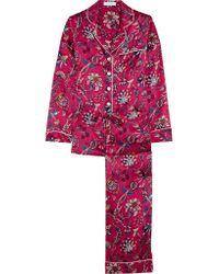 Olivia Von Halle | Multicolor Lila Yasmine Printed Silk-satin Pajama Set | Lyst