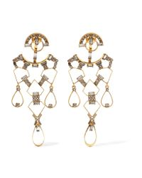 Erickson Beamon   Metallic Geometry One Gold-plated Swarovski Crystal Earrings   Lyst