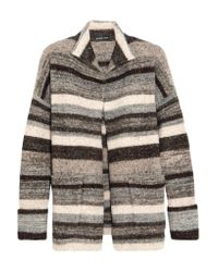James Perse | Gray Striped Stretch-knit Cardigan | Lyst