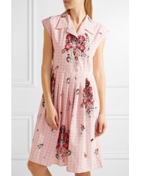 Miu Miu - Pink Embellished Cotton-jacquard Dress - Lyst