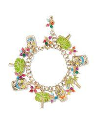 Rosantica | Metallic Enameled Gold-tone Beaded Charm Bracelet | Lyst