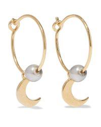 Iam By Ileana Makri | Metallic Satelite Moon Gold-plated Pearl Earrings | Lyst