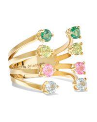 Delfina Delettrez | Metallic 9-karat Gold, Topaz And Peridot Ring | Lyst