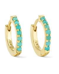 Jennifer Meyer | Metallic Huggy 18-karat Gold Turquoise Hoop Earrings | Lyst