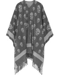 Alexander McQueen - Gray Reversible Intarsia Wool And Cashmere-blend Scarf - Lyst