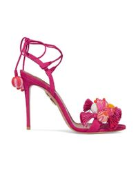 Aquazzura   Pink Tropicana Tasseled Beaded Suede Sandals   Lyst