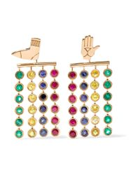 Alison Lou | Metallic + Hasbro Twister 14-karat Gold Multi-stone Earrings | Lyst