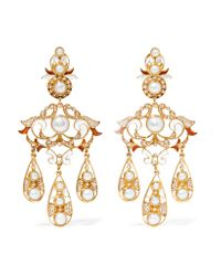 Percossi Papi - White Gold-plated, Pearl And Resin Earrings - Lyst