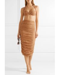 Norma Kamali - Multicolor Ruched Crystal-embellished Stretch-tulle Skirt - Lyst