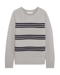 FRAME   Gray Striped Mercerized Wool-blend Sweater   Lyst