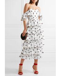 Caroline Constas - White Irene Off-the-shoulder Embroidered Cotton-blend Midi Dress - Lyst