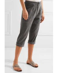 James Perse - Gray Cropped Stretch Cotton-blend Twill Tapered Pants - Lyst