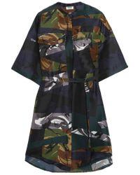 KENZO - Black Printed Silk Mini Dress - Lyst