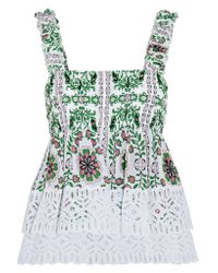 Tory Burch | Green Shirred Printed Silk-georgette And Broderie Anglaise Cotton Top | Lyst