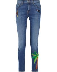 MIRA MIKATI | Blue Embroidered High-rise Skinny Jeans | Lyst