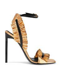 Saint Laurent | Edie Ruffled Metallic Snake-effect Leather Sandals | Lyst