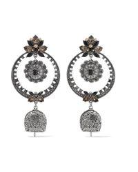 Alexander McQueen | Metallic Silver-tone Crystal And Bead Earrings | Lyst