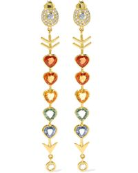 Daniela Villegas | Metallic Love Arrow 18-karat Gold, Diamond And Sapphire Earrings | Lyst