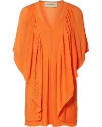 By Malene Birger - Orange Philanfi Draped Plissé-chiffon Mini Dress - Lyst