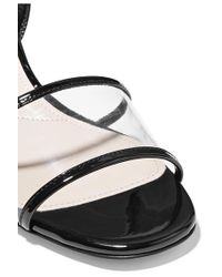 Prada - Black Patent-leather And Pvc Sandals - Lyst