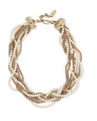 Lanvin | Metallic Gold-plated Faux Pearl Necklace | Lyst