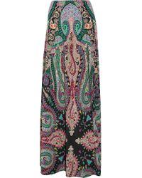 Etro   Green Printed Silk Crepe De Chine Maxi Skirt   Lyst