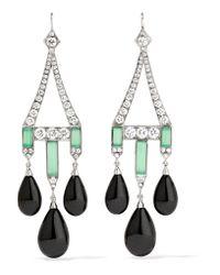 Fred Leighton   Metallic Collection 18-karat White Gold Multi-stone Earrings   Lyst