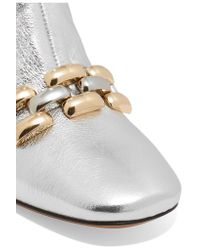 Marc Jacobs - Remi Chain-trimmed Metallic Leather Ankle Boots - Lyst