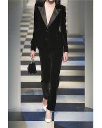 Oscar de la Renta - Black Silk Satin-trimmed Velvet Blazer - Lyst