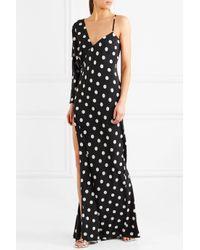 Michelle Mason - Black One-shoulder Polka-dot Silk Crepe De Chine Gown - Lyst