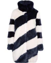 J.Crew - Blue Geo Striped Faux Fur Coat - Lyst