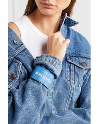 Balenciaga - Blue Cycle Textured-leather Cuff - Lyst