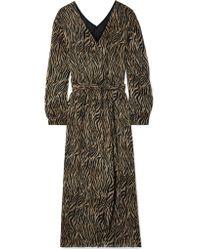 Nanushka - Brown Oasis Printed Crepon Midi Dress - Lyst