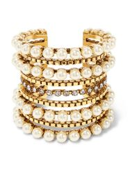 Erickson Beamon | Metallic Awaken Gold-plated, Faux Pearl And Swarovski Crystal Cuff | Lyst