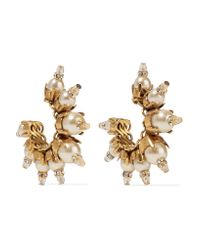 Erickson Beamon | Metallic My One And Only Gold-plated, Faux Pearl And Swarovski Crystal Earrings | Lyst
