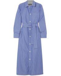 A.P.C. - Blue Millie Striped Cotton-poplin Midi Shirt Dress - Lyst