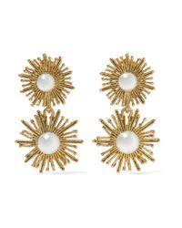 Oscar de la Renta   Metallic Sun Star Gold-plated Faux Pearl Clip Earrings   Lyst