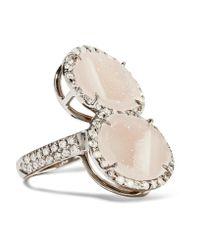 Kimberly Mcdonald   Multicolor 18-karat Blackened White Gold, Geode And Diamond Ring   Lyst