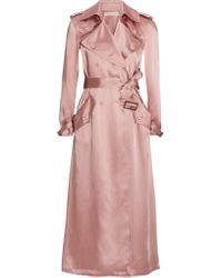 Fleur du Mal | Pink Satin Trench Coat | Lyst