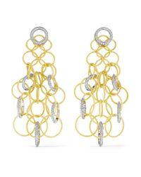 Buccellati   Metallic Hawaii 18-karat Yellow And White Gold Diamond Earrings   Lyst