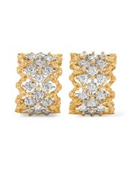 Buccellati   Metallic Rombi 18-karat Yellow And White Gold Diamond Earrings   Lyst