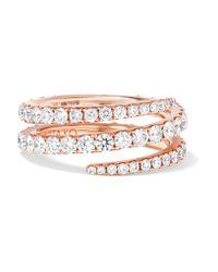 Anita Ko | Metallic Coil 18-karat Rose Gold Diamond Phalanx Ring | Lyst