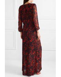 By Malene Birger - Black Midotter Pleated Printed Chiffon Maxi Dress - Lyst