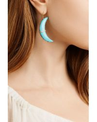 Andrea Fohrman - Blue Crescent Moon 18-karat Gold, Turquoise And Diamond Earrings - Lyst