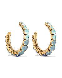 Erickson Beamon   Blue Rhapsody Gold-tone Crystal Hoop Earrings   Lyst