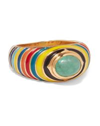 Percossi Papi - Metallic Gold, Enamel And Emerald Ring - Lyst