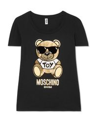 Moschino Black Printed Cotton-jersey T-shirt