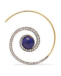 Noor Fares - Metallic Spiral Moon 18-karat Gold, Diamond And Lapis Lazuli Earrings - Lyst